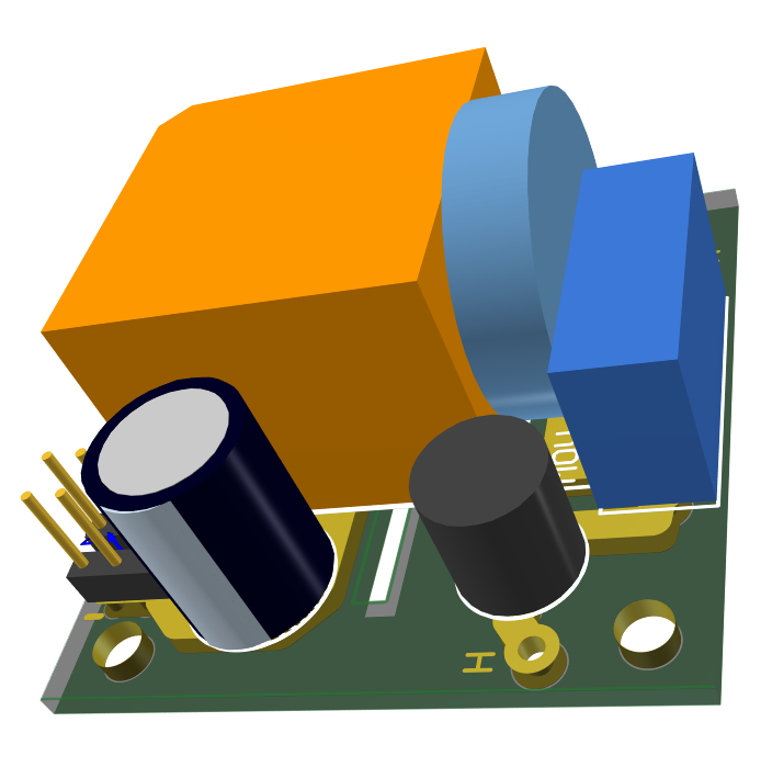 3D model of a 1W 5V power supply with surge protection by Nadim Conti