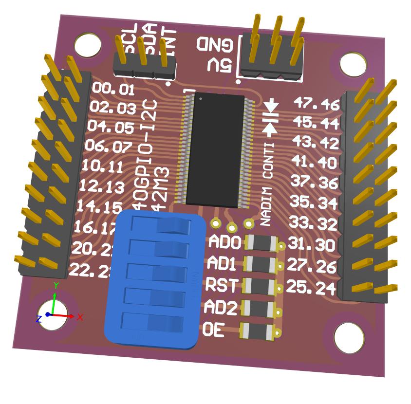 3D view 40GPIO PCA9698 I2C port expander