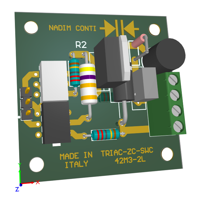 3D model of a triac controller board PCB
