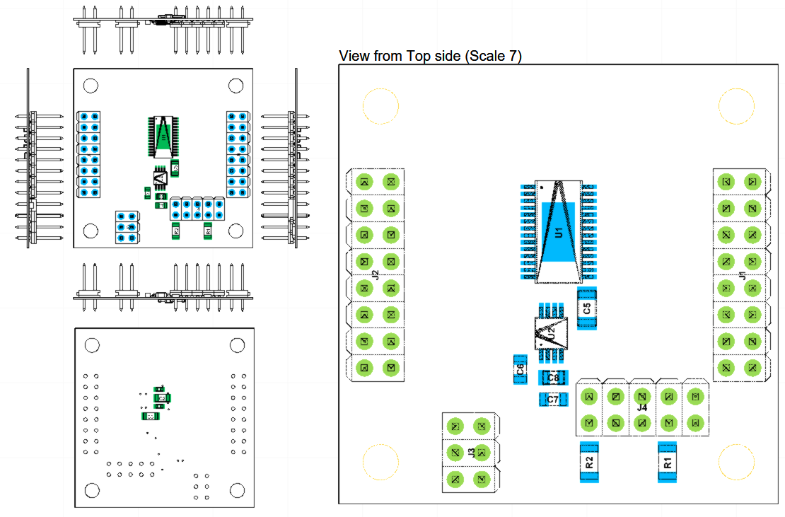 Assembly drawing of 16CH ADC with SPI output and ultra high precision voltage reference - by Nadim Conti