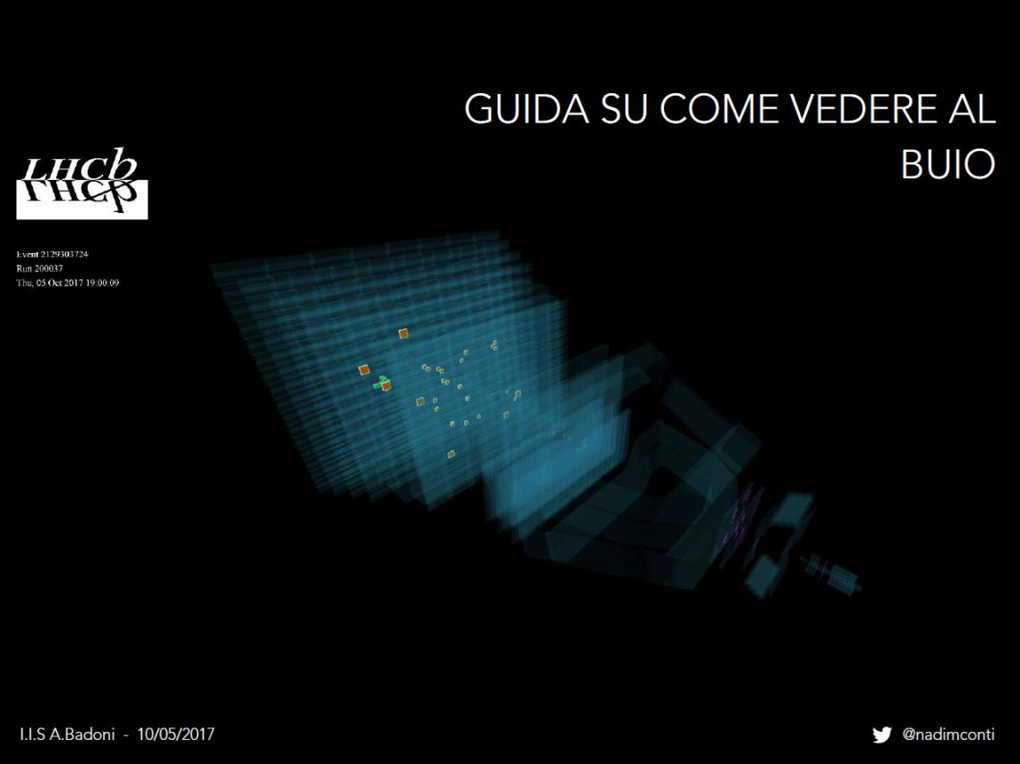 prima slide presentazione badoni di nadim conti, guida su come vedere al buio, CERN, LHCb