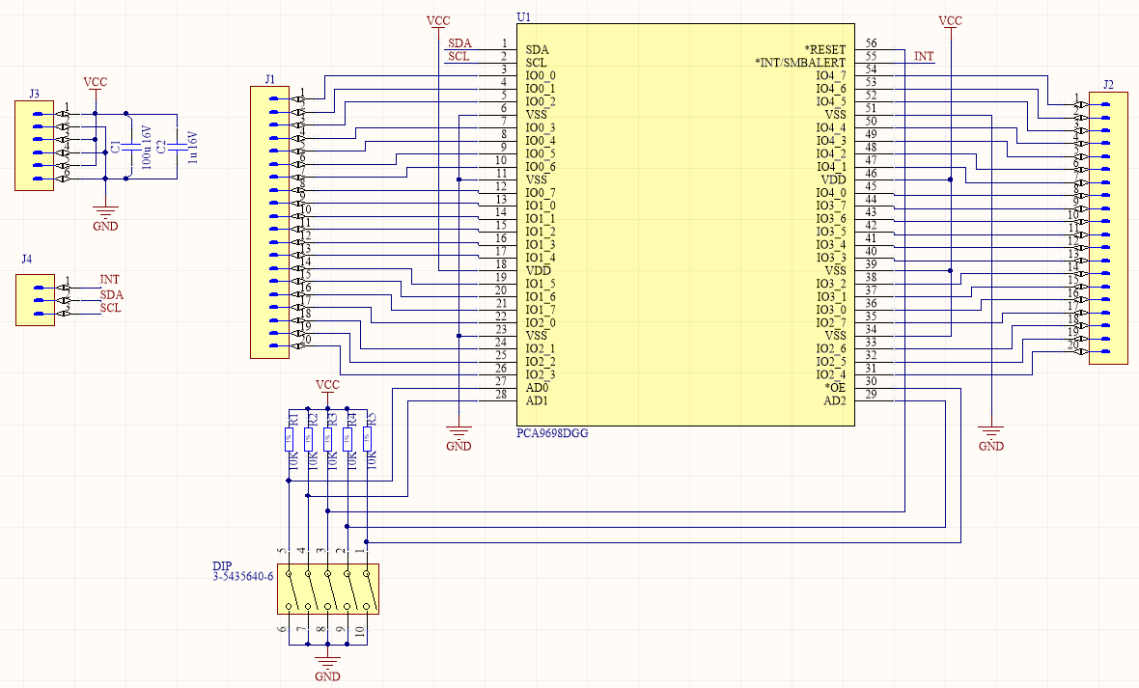 PCA9698 40GPIO I2C expander schematic