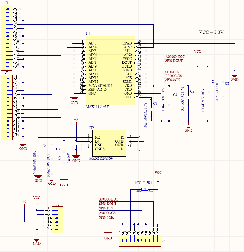 Schematic of 16CH MAX11131AUI based ADC with ultra high precision voltage reference MAC6126 3V - By Nadim Conti