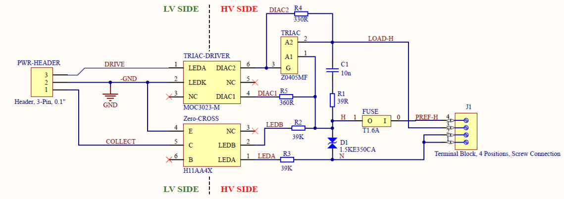 Triac controller with zero crossing detection schematic