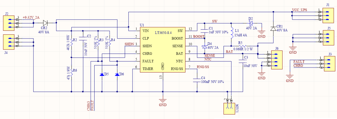 2 Cell li-ion battery charger schematic with LT3650 by Nadim Conti
