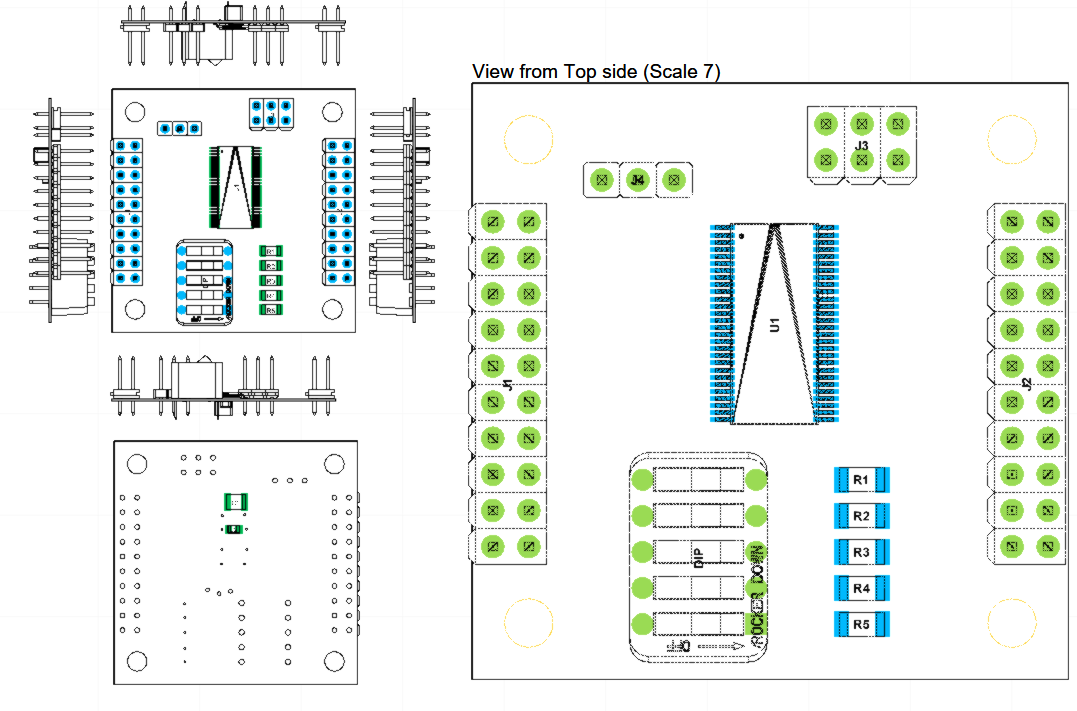 Top Assembly view and components placement for PCA9698 Fanout board - Evaluation board